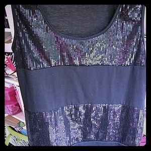 Black Sequined Sleeveless Top Size Small